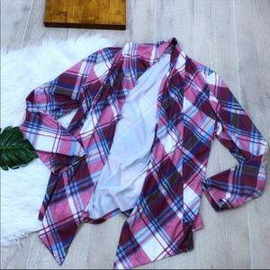 Long Sleeve Plaid Open Patchwork Cardigan 1117